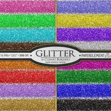 16 Digital Glitter Clipart Borders: New Year Glitter Digital Border Clipart - New Year's Party Printable Glitter Borders Clip Art Download