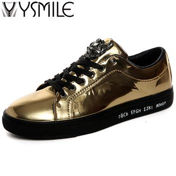 2018 High quality fashion men casual shoes brand footwear gold male designer platform shoes sneakers silver mens flats hot