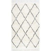 nuLOOM Hand-knotted Moroccan Trellis Natural Shag Wool Rug (3' x 5') - Free Shipping Today - Overstock.com - 17449177 - Mobile