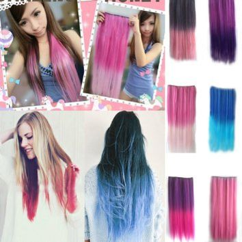 NSSTAR Newfangled Fashionable Multicolor Gradually Varied One Piece Straight Synthetic Clip-on Hair Extension 60cm Length,Multiple Choice (Straight, Dark Pink)