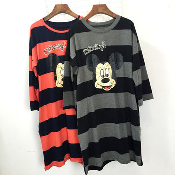 Mickey Mouse Print Striped Long Sleeves Loose T-Shirt