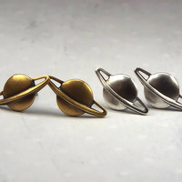 Planet Saturn Stud Earrings with Surgical Steel Posts, Silver Plated or Brass