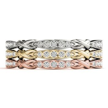 Stackables 1/2 Eternity Tri-Tone Gold 5-Stone Marquise Pinpoint Bezel Bow-Tie 3-Band Set