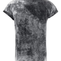 BLACK BURNOUT HIGH ROLL T-SHIRT - Men's Tees & Tanks - Clothing - TOPMAN USA