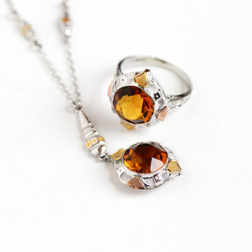 Sale - Antique 10k White Gold Art Deco Lavalier Necklace & Ring Set - Patented 1917 Vintage Gold Simulated Citrine Filigree Fine Jewelry