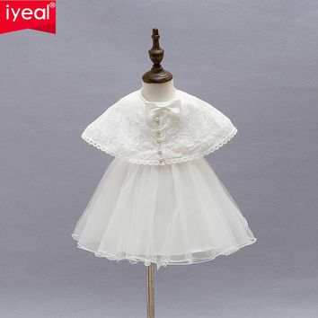 IYEAL Brand Princess Toddler Baby Girl Party Dress 1 Year Birthday Baptism Dresses With Shawl For Girls Baby Clothing 2PCS