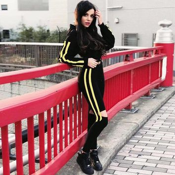 TWO PIECE SET Hoodie Ribbon Top Stripe Ladies Sweatsuits Tracksuit For Woman Runway Track Suit Knee Cut Pant Hole Winter Outfits