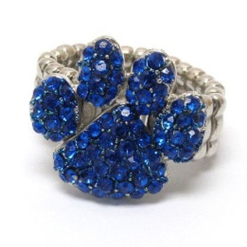 Crystal Accented Paw Blue Stretch Ring