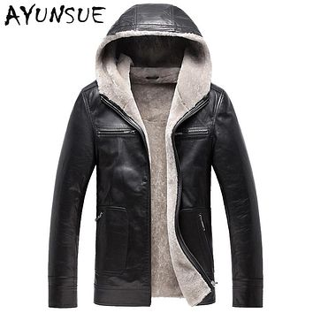 Men's Leather Jacket Coat Winter Jackets for Men Sheepskin Jacket Hooded Collar Quality Genuine Leather Coats AYUNSUE YYJ0054
