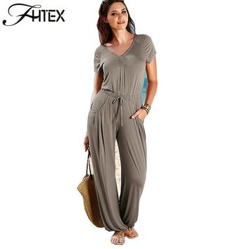 Wide Leg Jumpsuit Fashion New Solid Color Elegant V Neck Elastic Waist Summer Casual Loose Beach Rompers Overalls combinaison