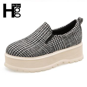 HEE GRAND Platform Women Casual Daily Shoes Spring Autumn Gingham Creepers Flats Shoes Women With 4 Colors Size 35-39 XWD6352