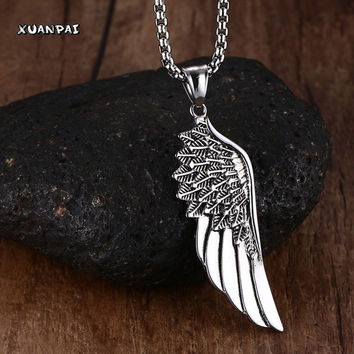 Men Choker Necklaces Stainless Steel Vintage Gothic Feather Angel Wing Pendants Silver Tone Chockers Kettingen Kolye Jewelry 24""