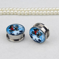 Pairs bike girl  ear plugs, Stainless Steel Flesh Tunnel Ear Plugs, Screw Body Piercing Jewelry, Ear Expander,women ear plugs