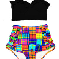 Black Midkini Top and Plaid Multi Color Highwaisted High Waisted Waist High-waist Swimsuit Swimwear Bikini Bath Bathing suit Swim Wear S M L
