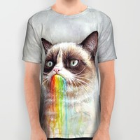 Cat Tastes the Grumpy Rainbow | Watercolor Painting All Over Print Shirt by Olechka