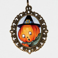 Pumpkin Witch Necklace, Halloween Jewelry, Pumpkin Necklace, Oval Pendant