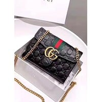 GUCCI high quality women's double G embossed chain bag shoulder bag