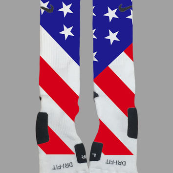 American Flag Stars and Stripes Custom Nike Elite Socks - Socktimus Prime Custom Nike Elites