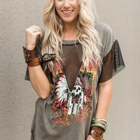 Rock Starlette Graphic Tee - Olive