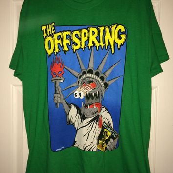 Sale!! Vintage THE OFFSPRING Green T shirt American PUNK Rock band casual tee