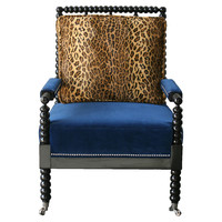 Barclay Butera, Bobine Velvet Spindle Chair, Leopard, Accent & Occasional Chairs