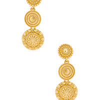 Oscar de la Renta Textured Metal Disc Earring in Gold | FWRD