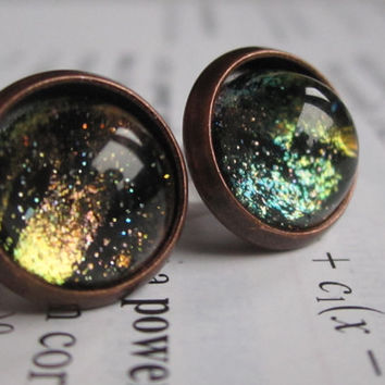 Cuprum - Earring studs - science jewelry - science earrings - galaxy jewelry - physics earrings - fake plugs - plug earring - nebula earring