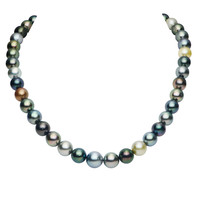 IMPERIAL PEARL: 18 INCH 8-10MM TAHITIAN PEARL MULTI-NATURAL-COLOR NECKLACE WITH 14K GOLD BALL CLASP