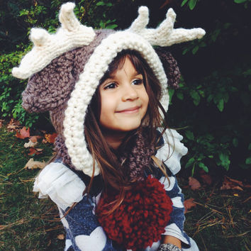 Reindeer Hat Rudolph Hood Cowl Scarf Knit Toddler Child Adult // Rudolph the Reindeer Hood