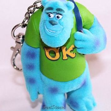 Licensed cool NEW Disney Store Monsters University Inc. 3D Plastic/Fur Clipon Keychain SULLEY