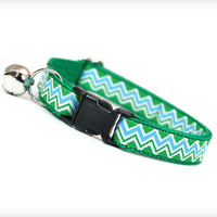 "Cat Collar - ""Tahoe"" - Green & Blue Chevron"
