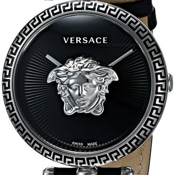 Versace Women's 'Palazzo Empire' Swiss Quartz Stainless Steel and Leather Casual Watch, Color:Black (Model: VCO060017)