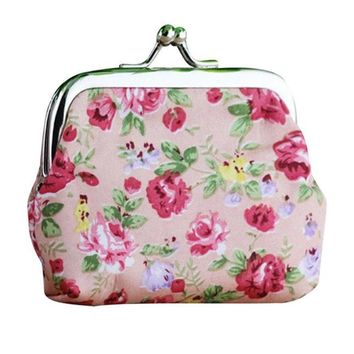 Retro Vintage Flower Small Wallet Hasp Purse Key Holder Clutch