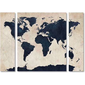 "Trademark Fine Art ""World Map Navy"" Canvas Art by Michael Tompsett Three Panel Set - Walmart.com"
