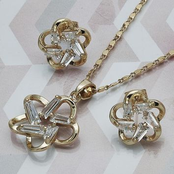 Gold Layered Women Flower Earring and Pendant Adult Set, with White Cubic Zirconia, by Folks Jewelry