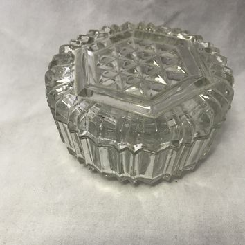 #0084 Glass round trinket box, with lid, pressed glass