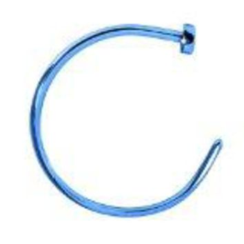 BodyJ4You Nose Rings Hoop 22 Gauge Blue Stainless Steel Piercing Jewelry