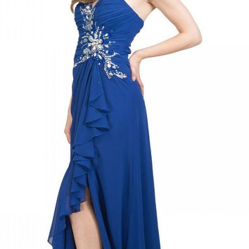 Prom Gown Chiffon Royal Blue Front Slit Strapless Floor Length