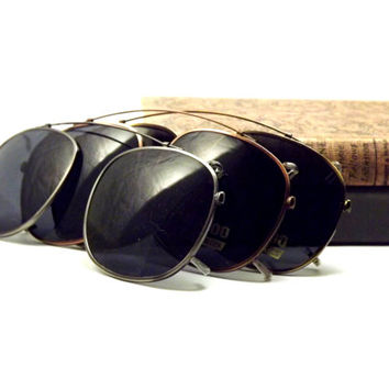 Large Square Clip on Sunglasses, Bronze or Silver Metal with Gray UV Block Glasses Lenses, Vintage New Old Stock Glasses