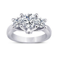 1.71 carat Round diamonds 3 stone anniversary ring white gold jewelry