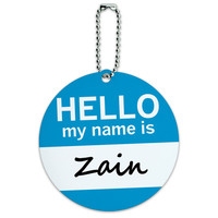 Zain Hello My Name Is Round ID Card Luggage Tag