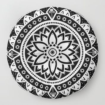 Black & White Patterned Flower Mandala Floor Pillow by inspiredimages