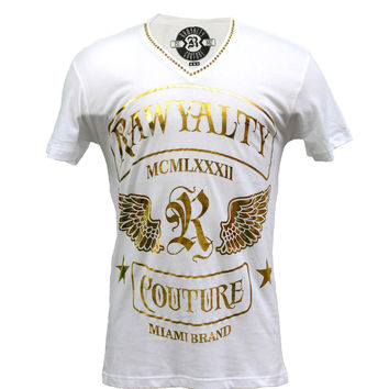 Rawyalty Couture Men'sGold Logo Stones T-Shirt White