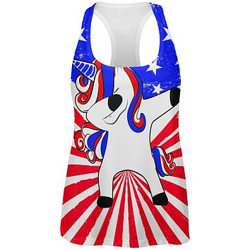 4th of July Dabbing Unicorn Americorn All Over Womens Work Out Tank Top