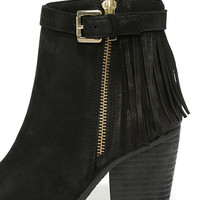 Steve Madden Woodmeer Black Nubuck Leather Fringe Booties