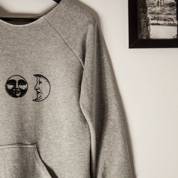 The Moon sweatshirt, full moon sweatshirt, crescent moon blouse, grey sweatshirt, unisex sweatshirt