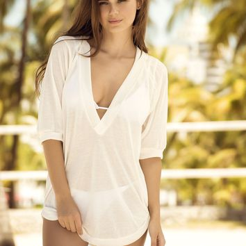 White Sheer Hoodie Cover Up & Beach Dress