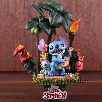 Lilo and Stitch Figurines Stitch & Scrump Hawaii Holiday Time PVC Beast Kingdom D-Select 004 Action Figure Collectible Model Toy
