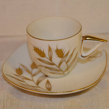 Golden Wheat Cup & Saucer Set Vintage Gold Accented China Cup and Saucer Mid Century Modern Square Saucer Atomic Art Deco Afternoon Tea
