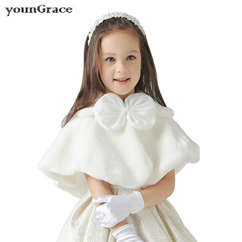 New 2016 Girls Winter Wedding Faux Fur Bolero with Bowtie Brand Baby Girls Formal Short Coat Kids Wedding Cape Girls Coat, C266